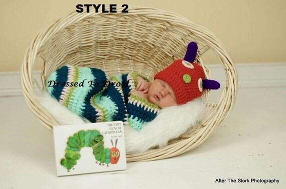 Baby Junge Mädchen häkeln Hut Raupe Nimmersatt Cocoon