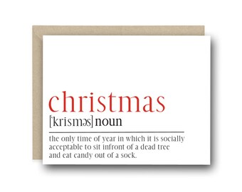 Funny Christmas Card - Christmas Definition Card - Funny Holiday Cards, Holiday Cards, Funny Christmas Greetings, Christmas Gift