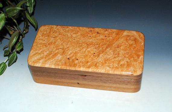Handmade Wooden Box With Tray- Wood Box of Maple Burl on Walnut by BurlWoodBox- Jewelry Box, Stash Box, Keepsake Box, Gift For Men, Tray Box