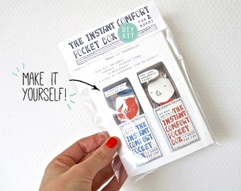 DIY kit - groen: voor 2 Instant Comfort Pocket dozen - cheer up en troost vakken - fox - pig - cadeau