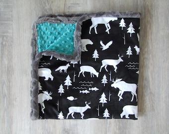 Woodland Minky Blanket - SHIPS today -  Designer Bedding - Woodland Bedding - Deer Blanket -Moose Bedding -Teal Blanket