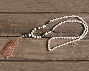 White Bead Tassel Necklace