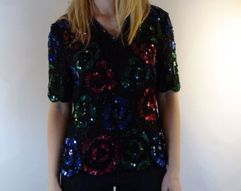 Vintage Glamour Sequin TOP, Stenay, 1980s