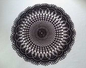 Crochet doily - Round doilies - Large doily - Black doily - Yellow doily - Home decor - Crochet doilies