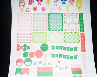 Strawberry Girl Weekly Planner Stickers Set, for use with Erin Condren Life Planner, Happy Planner