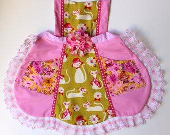 Sassy Kitty Apron,  toddler apron, girls apron