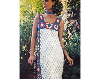 Crochet Dress Pattern Granny Square Dress Crochet Pattern Womens Maxi Gown, Red White and Blue Instant Download PDF Pattern- C142