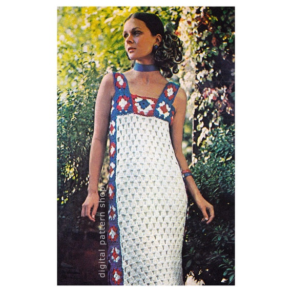 Crochet Dress Pattern Granny Square Dress Crochet Pattern Womens