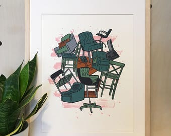 Bouquet of Chairs Print - Hand Pulled Serigraph