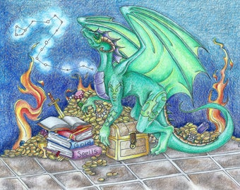 Draco Print- dragon print done on heavy card stock colored pencil and ink original