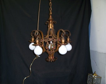 1920s  Vintage  Polychrome hanging   5 Light Chandelier antique brass  finish  wrought iron spanish revival, hanging lamp , tudor style ,