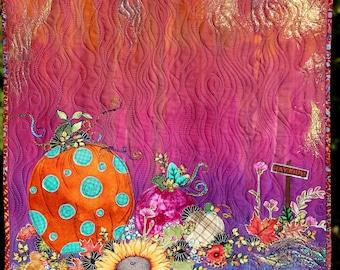 MarveLes PUMPKIN SPICE Art Quilt Wall Hanging Fall Autumn Home Decor Decor Orange Rusty Rosey Brown