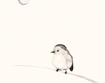 Little Bird Illustration Print - Watercolour and Ink painting of bird and the moon, black, grey and cream colours