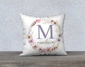 Personalized Name Pillow Cover, Nursery Pillow, Monogram, Baby Gift, Floral Wreath, Baby Girl, Boho Baby, Pastel Nursery, Initial Pillow