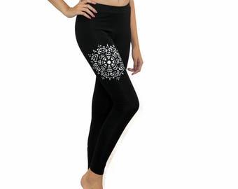 MANDALA leggings, Yoga leggings, Black cotton leggings, Workout leggings, Womens leggins, Plus size tights, Gifts for her, Yoga wear, Black