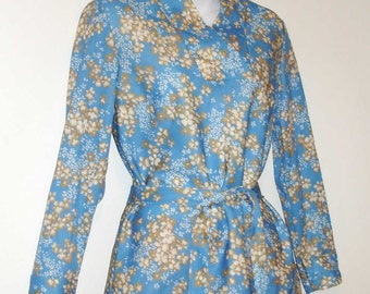SALE 1/2 OFF vintage retro floral belted tunic top