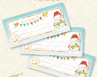 Snowman, Printable Gift Certificate, Christmas, editable text pdf, gold foil effects, holiday, instant download, digital, diy