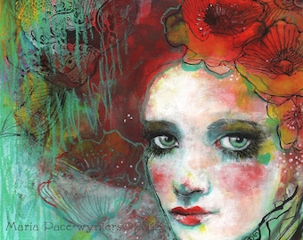 The Spanish Poppy-ACEO  Open edition reproduction by Maria Pace-Wynters