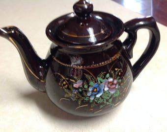 Vintage Japan Teapot black ceramic pottery hand painted flowers 4 cup enamel floral teapot, 4 cup black teapot hand painted flowers Japan