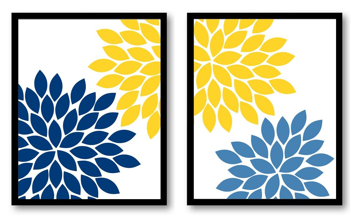 INSTANT DOWNLOAD Yellow Blue Navy Chrysanthemum Set of 2 Art