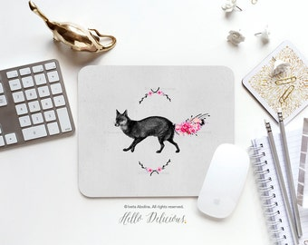 """Fox Mousepad """"Foxy Lady"""" by Iveta Abolina Mousepad Mouse Mat Floral Fox Mouse Pad Office Mousemat Fox Mousemat Fox Mousepad Round 17."""