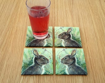 rabbit coasters - rabbit decor