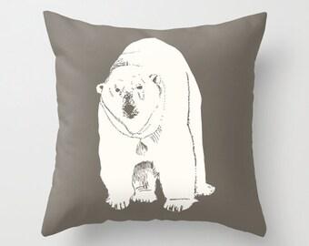 Polar Bear Pillow Cover, animal pillow, polar bear decor, rustic decor, rustic pillow, neutral nursery pillow, brown pillow, choose color