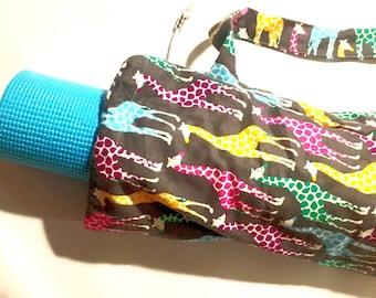 Rainbow Giraffe Yoga Mat Bag, Yoga Bag, Pilates Bag, Exercise Bag, Meditation Mat Bag, Gym Bag, Yoga Teacher Gift, Beads, Barre, Giraffe