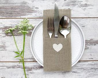 6 Burlap cutlery holders, heart rustic holders, wedding silverware holders, white hearts tableware,