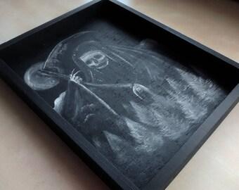 The Darkest Hour Black and White Painting Dark Art