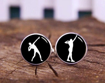 Shot Put Cuff Links, athlete cufflinks, Custom All Sports profile, Wedding Cuff Links, Shot Cufflinks, Personalized Cuff Links, Tie Clips