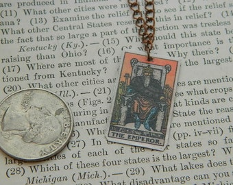 Tarot necklace tarot jewelry The Emperor minimalist jewelry mixed media jewelry supernatural
