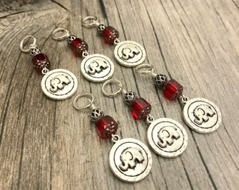 Silver Elephant Stitch Markers, Snag Free Knitting Charms, Knitters Gift