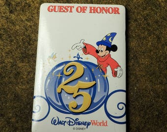 WDW 25th Anniversary Guest Of Honor Badge - Vintage Walt Disney World Souvenir 1996