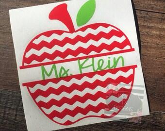 Apple Decal   Apple Monogram   Teacher Decal   Personalized Decal   Monogram Apple Decal   Teacher Gift   Apple Teacher Decal