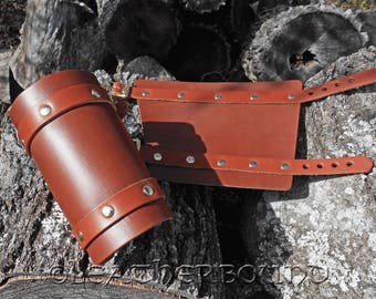 Leather Bracers Plain in Chestnut Brown and Tan.