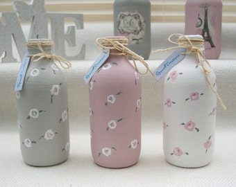 3 Rose Painted Bud Vases / Bottles Pink Grey White Vintage Country Shabby Chic