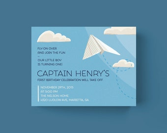 Paper Airplane Birthday Invitation