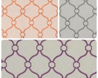 Modern Viscose Linen Ivory Upholstery Drapery Pillow Fabric Neutral Gray Purple Lilac Orange Copper Geometric Diamond Trellis Pattern IL11
