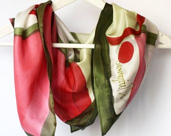 Square silk scarf handpainted,Picasso inspired square scarf,Hand painted silk scarf,Made to order scarf,Handmade silk scarf,silk neckerchief