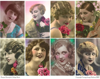 FLAPPER HAIRSTYLES Vintage Postcards - Instant Download Digital Collage Sheet