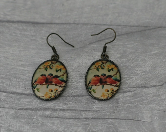 Red Bird Earrings, Bird Jewelry, Animal Accessory
