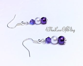 Mothers Day Gift, Petite Purple and White Pearls & Swarovski Tanzanite AB Crystal Drop Earrings, Bridesmaid Gifts, Bridal Jewellery