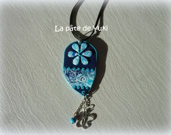 Necklace drop blue handmade polymer clay