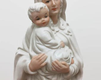 Virgin Mary and Baby Jesus Statue - Okumoto Hawaii Porcelain - Matte White