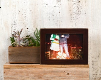5x7 inch Picture Frame in 1x1 Flat Style with Vintage Mahogany Finish - IN STOCK - Same Day Shipping - 5 x 7 Photo Frame Brown