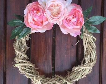 Spring Wreath, Front Door Wreath, Pink Roses Wreath, Grapevine Wreath, Rustic Wreath