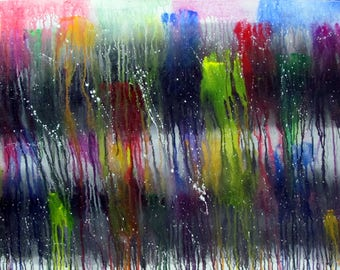 """Colorful acrylic abstract painting, 24"""" x 36"""" stretched canvas, drip painting, bold abstract art, original abstract painting, ready-to-hang"""