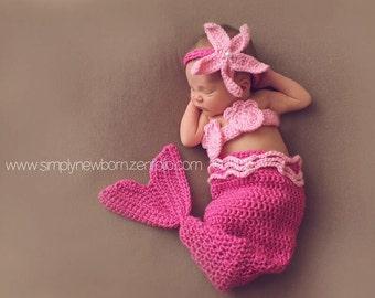 3 to 6 month Pink Mermaid Tail Halloween Costume, 3-6 month Mermaid Photo Prop