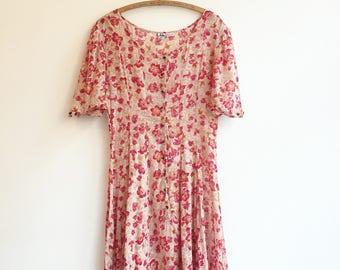 Vintage Adini cotton indian cotton floral flower dress M